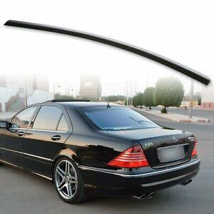 Trunk Lip Spoiler For Mercedes Benz 00-06 W220 S-Class Unpainted Black S350
