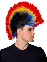 Mens Multi Coloured Punk Rock Rocker Mohican Mohawk Fancy Dress Wig 70s 80s