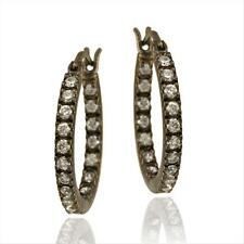 Black Rhodium Overlay 925 Silver 18mm CZ Hoop Earrings