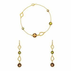 Silverly Gold Plated .925 Sterling Silver Green Gemstone Bracelet Earrings