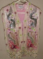 VINTAGE handmade Hong Kong Charlotte Ford vest Pink pearls sequins size Small