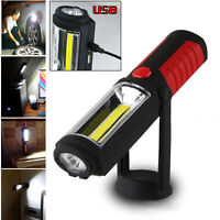 Magnetic Rechargeable 360° COB LED Work Light Hand Torch Portable Lamp W/Hook