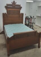 7 piece Antique Victorian Eastlake Walnut Burlwood Bed Dresser Chairs Nightstand