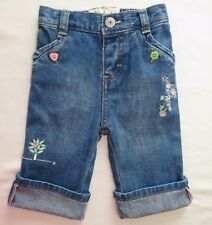 OSH KOSH B'GOSH Girl Jeans Size 3-6m 00 Flower Tree Patchwork Alternative Hippie