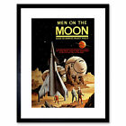 Vintage Space Men Moon Based America Project Apollo Framed Wall Art Print