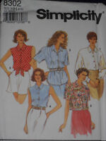 Shirts Sleeve Variations Misses size 6-12 Simplicity 8302 Sewing Pattern