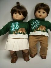 MATCHING Bear SWEATERS w/PANTS SKIRT Doll Clothes For Bitty Baby Twins (Debs)