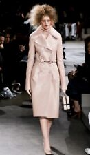 Runway - Fab Alexander McQueen faux leather coat with natural mink collar, UK12