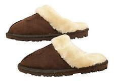 Ladies Brown Faux Suede warm Lined Slip On Cosy Slipper Mules UK 3 EUG 36