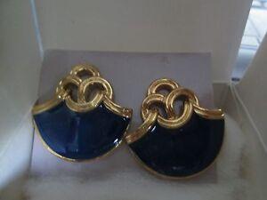 AVON VINTAGE*PERUSIAN PIERCED EARRINGS W/SURGICAL STEEL POSTS/BLUE*1992*NIB*RARE