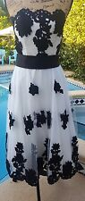 Tadashi Size 6 White w/ Black Flowers Strapless Formal Knee Length Dress