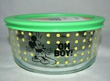 """Pyrex Disney Mickey Mouse """"The True Original"""" 4-Cup Bowl w Green Lid Dots NEW"""