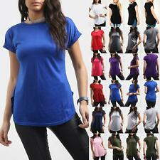 Ladies Womens Curved Hem Jersey Plain Top Round Neck Turn Up Cap Sleeve T Shirt