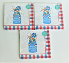 3 Pioneer Woman Red White and Blue Patriotic Mason Jar Napkins:8in, 20ct 2PLY