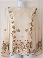 Womens Zara Premium Cream Embroidered Folk Peasant Boho Victorian Lace Blouse L.