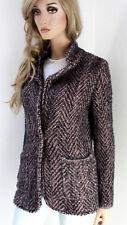 MARCCAIN Damen Jacke Strickjacke Blazer Wolljacke N3 38 M Wollmischung grau rosa
