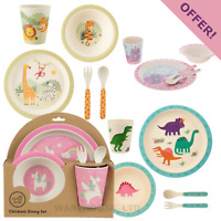 Sass & Belle Bamboo Childrens Cup Plate Bowl Cutlery Tableware Set - Fast Del
