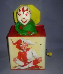 VTG LORRAINE NOVELTY MFG CARNIVAL PRODUCTS JACK IN THE BOX WIND UP CLOWN/JESTER!