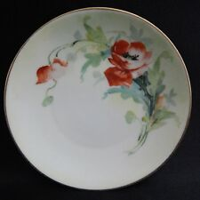 """Hand Painted Red Floral Plate - Favorite - Bavaria Signed 5-3/4"""" White"""
