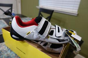 """Mavic """"Tri Race 13"""" Road Bike Shoes Mens US Size 12 EUR 46 2/3 White/Black New"""