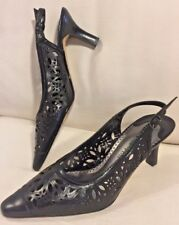 Bella Vita Black Leather Pointed stiletto filigree Mules retro Size 6 M NEW WOT