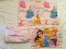 Disney Belle Cinderella Aurora Princess Full Top Bottom Pillow Case Sheet Set