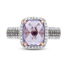 14K Oro Rosa Cojín Amatista Violeta Color Champán y Blanco Anillo con Diamante