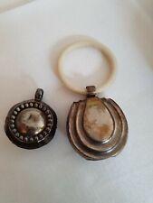 2 Babyrassel mit Beissring versilbert  - antik - Silber
