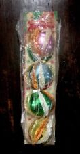 Vtg set 4 Unbreakable Christmas Ornaments w Chenille Pipe Cleaners Multicolor