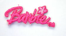 BARBIE 5cm/2inch Wide  PINK Embroidered Iron Sew On Cloth Patch Badge  APPLIQUE