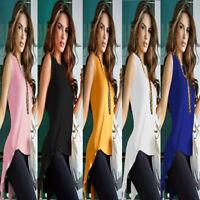 Stylish Womens Split Tank Tops Sleeveless Blouse Ladies Slim Vest Party