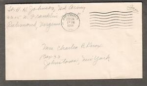 WWII military cover Lt H H Johnson US Army 3215 W Franklin St Richmond VA to NY