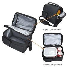 Insulated Lunch Coolbag Work Bag Picnic Adult Kids Food Storage Lunchbox Black