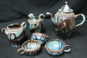 mid century pottery teapot & misc pieces / old unusual glaze unmarked Bulgaria?