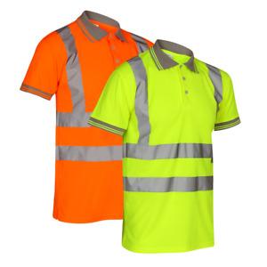 Hi Vis Viz Visibility Short Sleeve Safety Work Roadwork Polo T-Shirt Top S-5XL