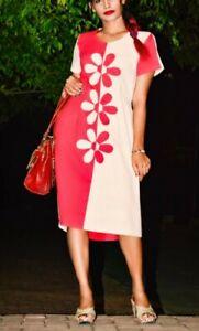 women linen midi dress frock