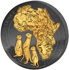 1 OZ Argento BU Meerkat SURICATI Ruanda 2016 kinyarwanda GOLDEN enigma BLACK