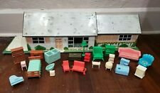 Vintage Marx Tin Litho Doll House Ranch Style with Furniture