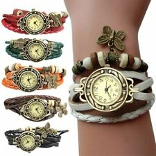 Butterfly jewelry Watch  Clock Women Unique Vintage Retro Rivet Braided Bracelet