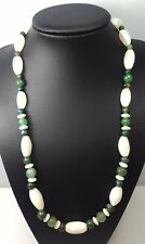 Vintage Beads Long White and Green Agate Gemstone Necklace