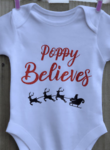 I Believe Christmas PERSONALISED GLITTER Baby Vest Bodysuit Baby Grow Believes