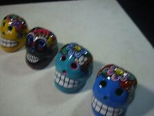 Set of 4 Day of the Dead Sugar Skull Magnets. hand made kitchen art