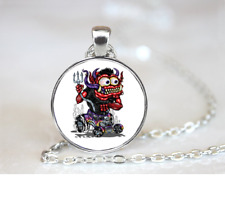 Red Monster On Purple HotRod PENDANT NECKLACE Chain Glass Tibet Silver Jewellery
