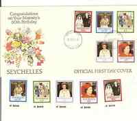 SEYCHELLES QE II 60th BIRTHDAY SCOTT #'S 592-96 MNH & OFFICIAL FDC FREE SHIPPING