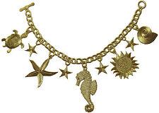 "#2370 10"" Gold Trim Fringe,Chain,Sea Horse,Starfish,Sea Turtle  Applique  Patch"