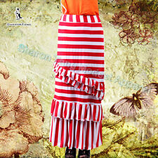 SHARON TANG Modest Apparel Long Red White Stripe Knit Layer Ruffle Maxi Skirt S