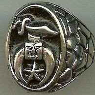 "Biker Ring   ""Sword Star Moon""     New  US Lic"