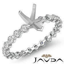 Pear Semi Mount Fine Diamond Engagement Bar Setting Ring 14k White Gold 0.4Ct