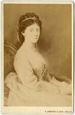 CABINET CARD OF FAMOUS PERSON A PAINTING OF A WOMAN WITH PEARLS IN HER HAIR