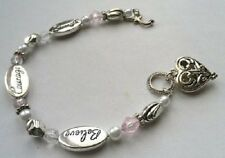 bracelet coeur ajouré couleur argent perle style rétro ARMBAND PULSERA * 4360